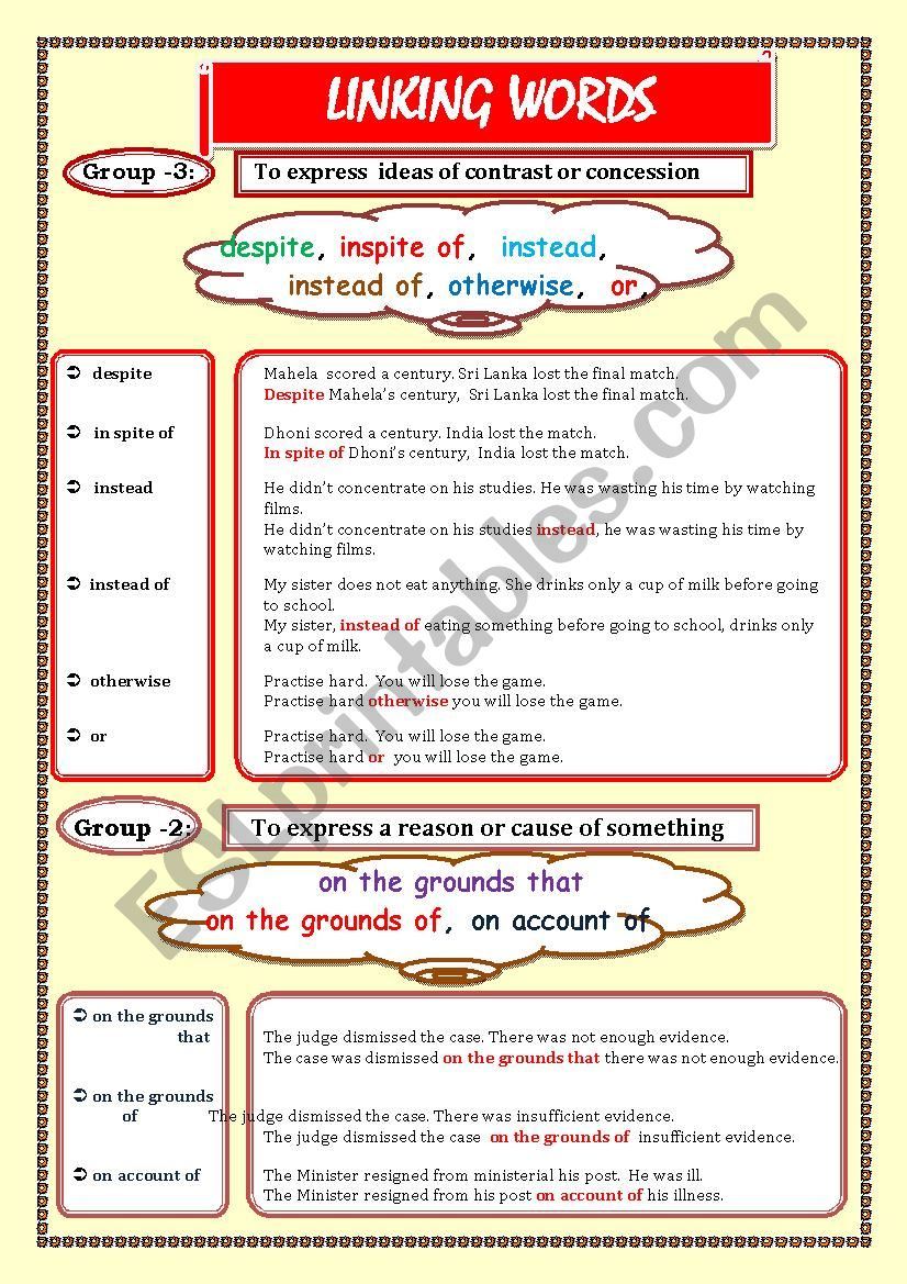 LINKING WORDS (Conjunctions + Adverbs) Page - 05