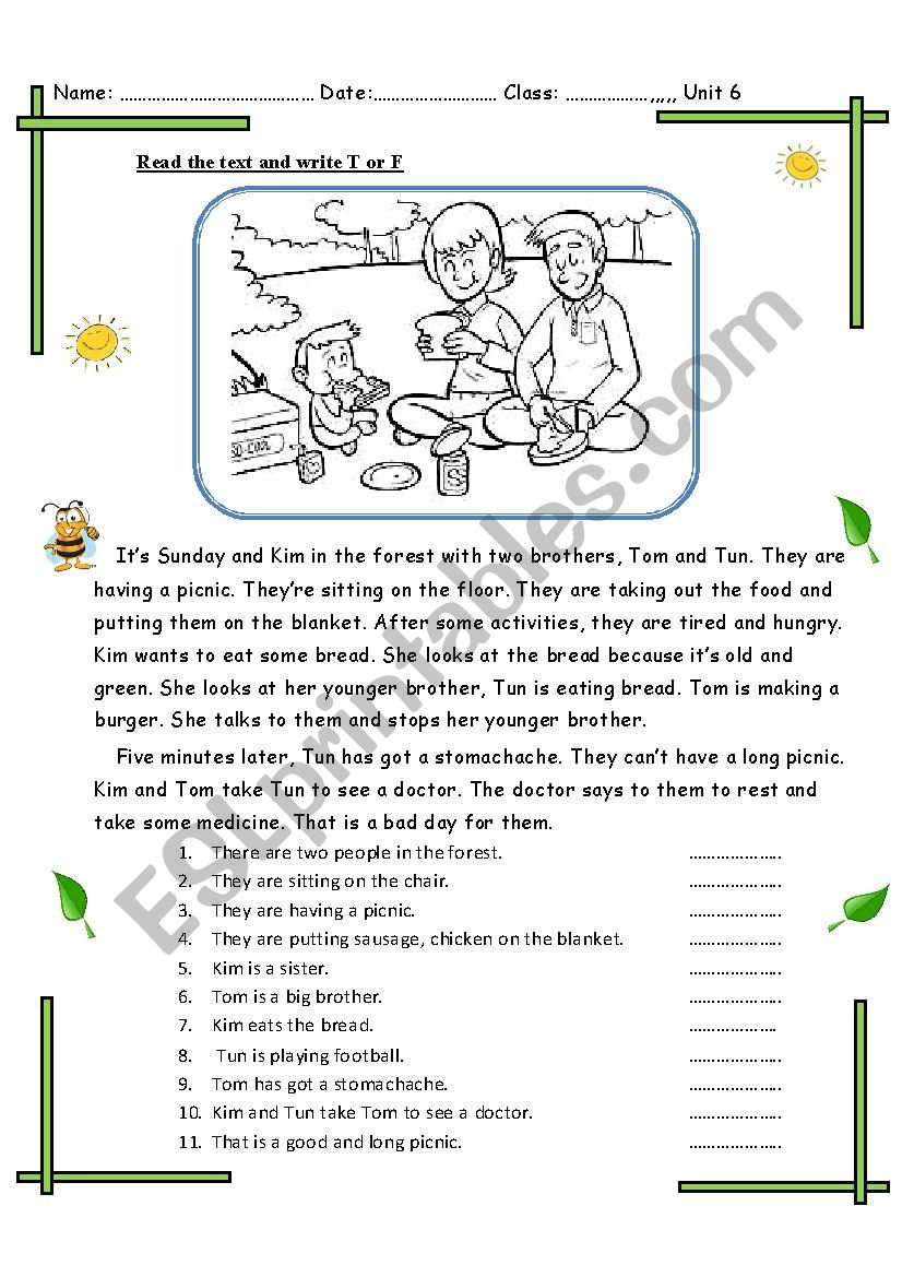 a picnic day worksheet