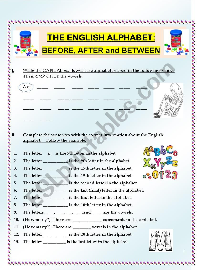 Alphabet Practice:  Letter Order, including before, after and between (3 pages)