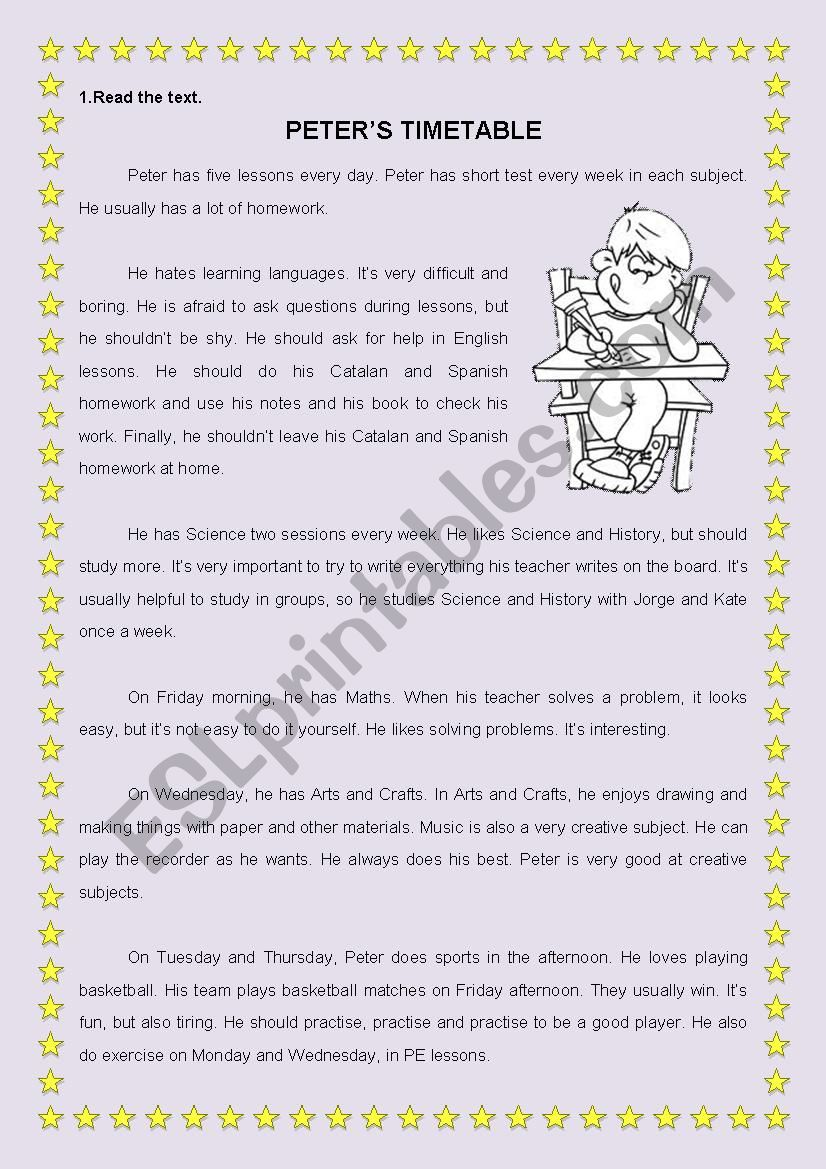 - School Subjects Reading Comprehension - ESL Worksheet By Igiralt