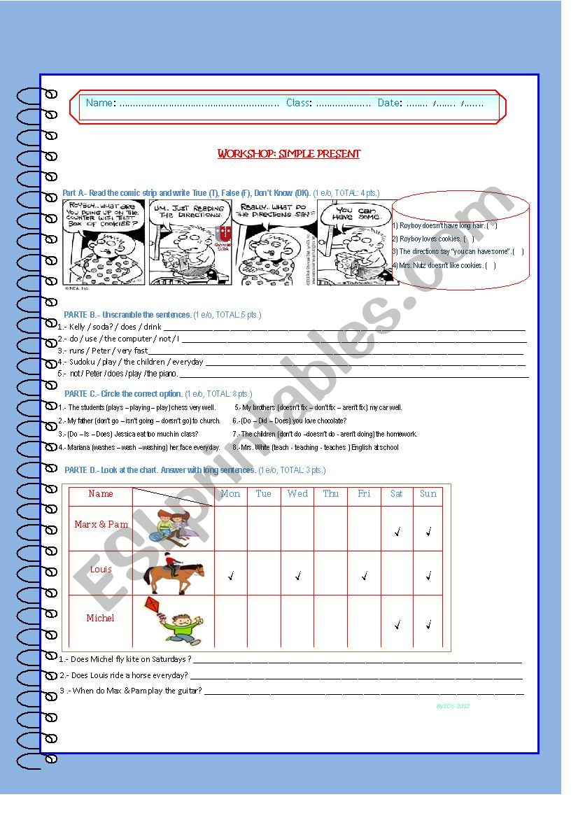 Workshop: Simple Present worksheet