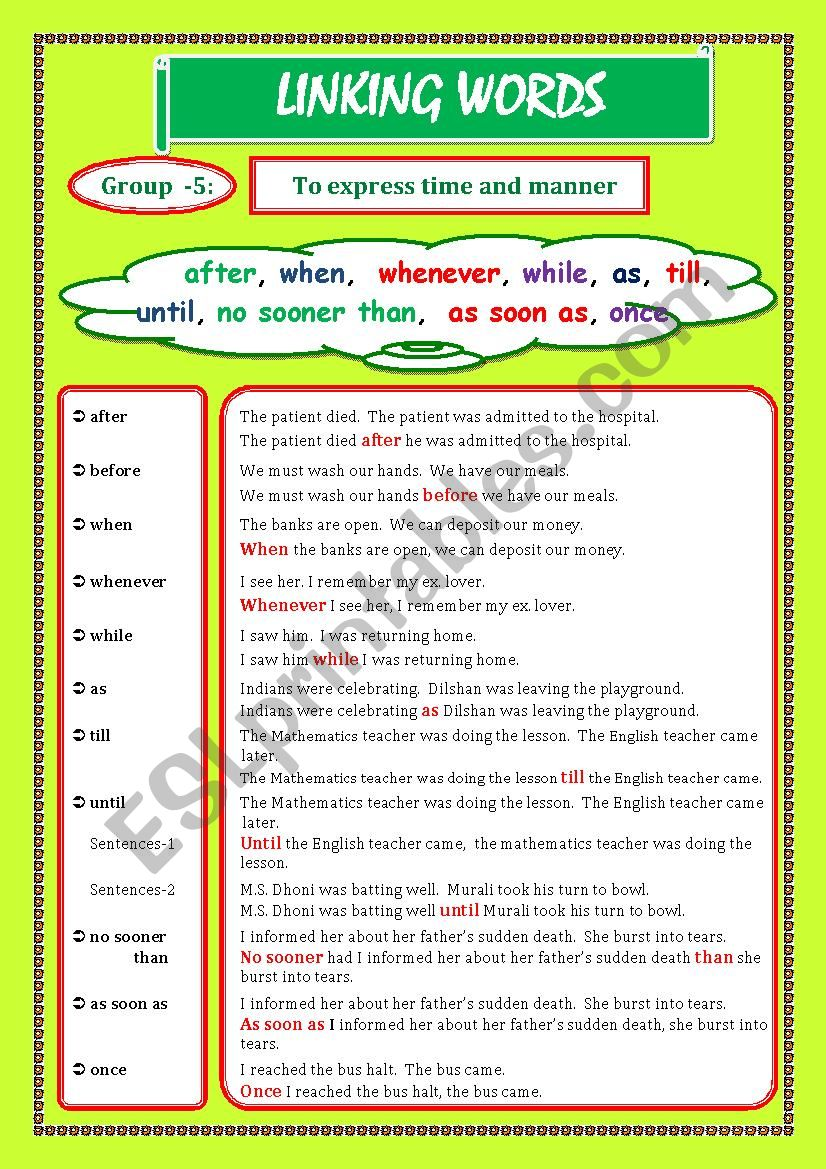LINKING WORDS (Conjunctions + Adverbs) Page - 06