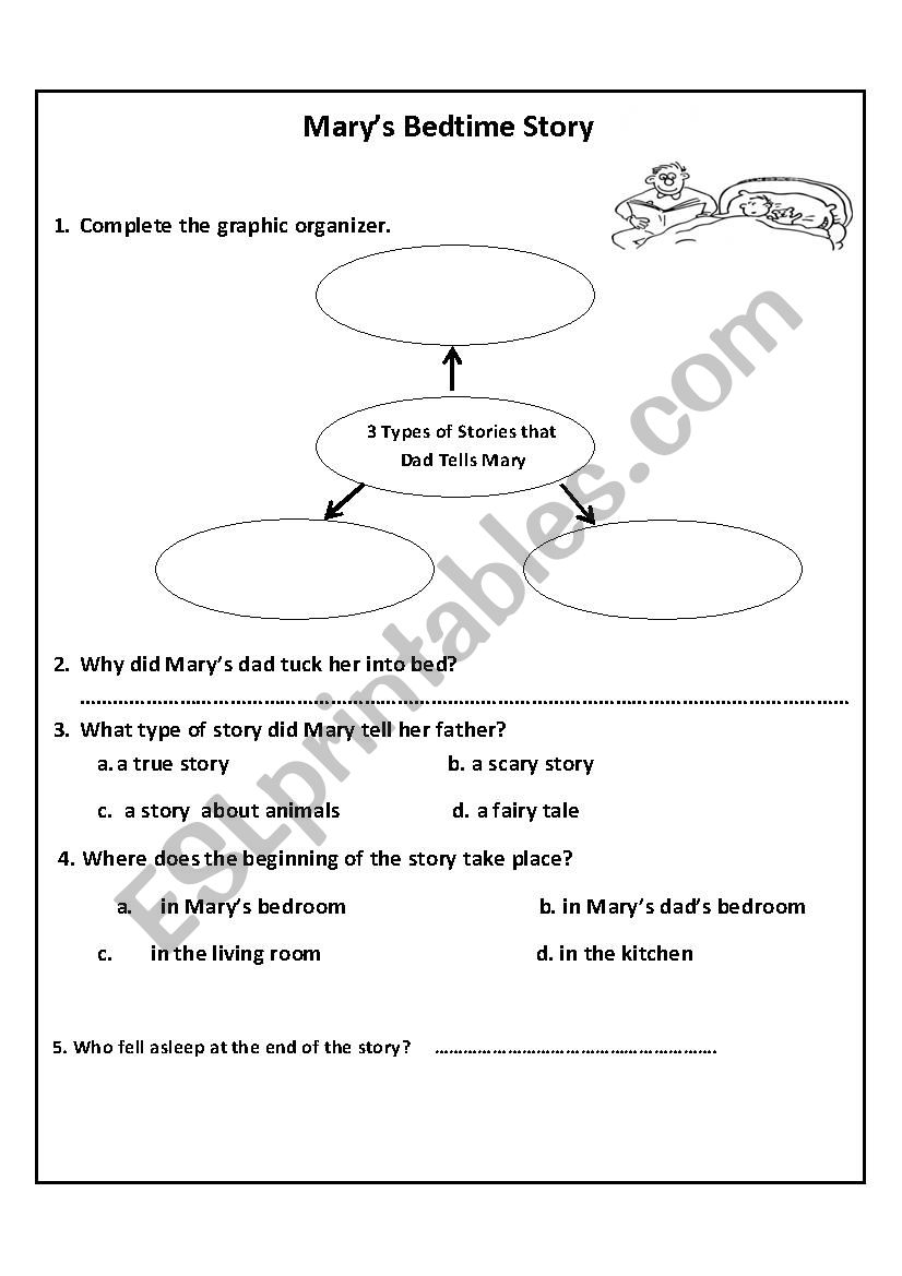 Mary´s Bedtime Story - ESL worksheet by MariomaMe123