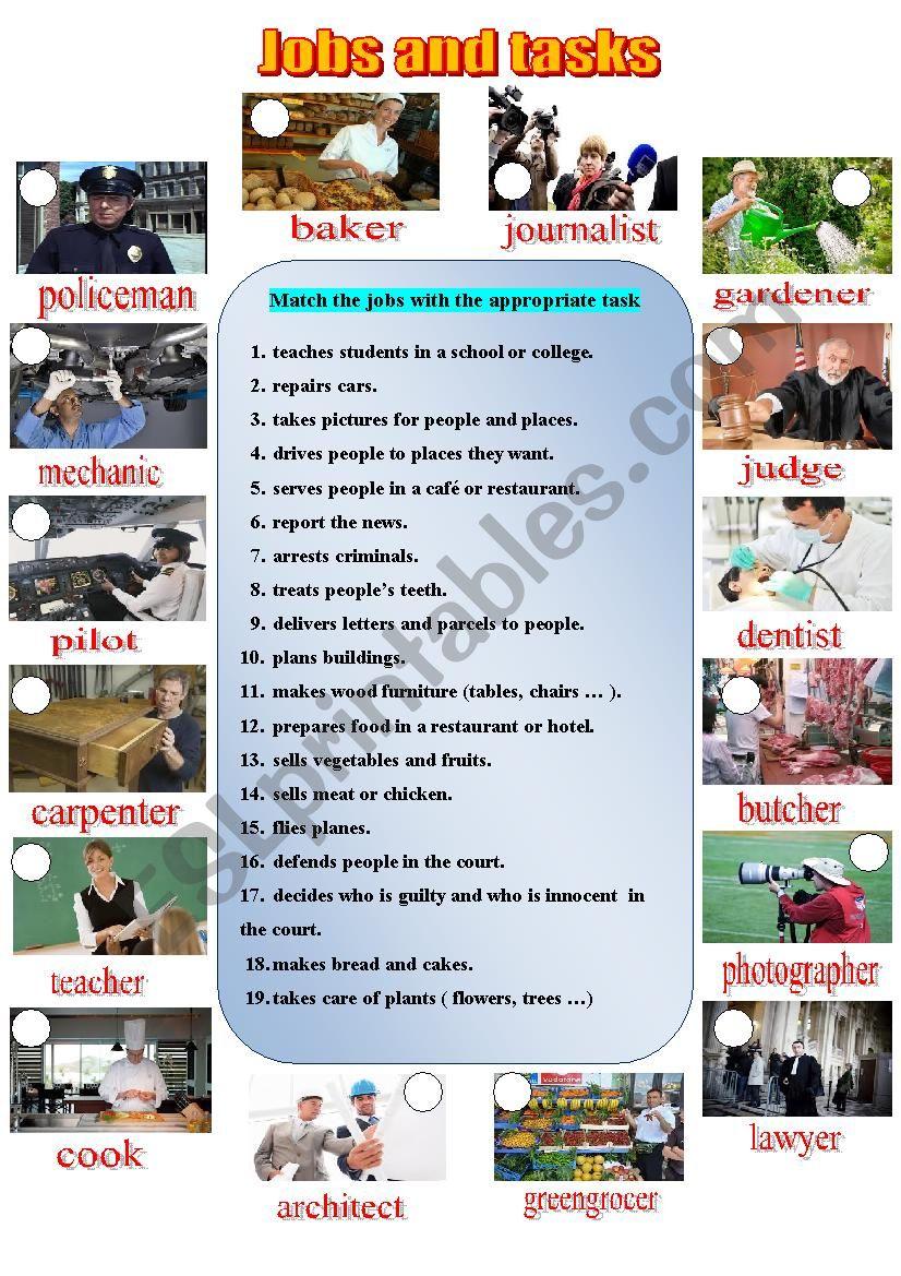Jobs and tasks worksheet