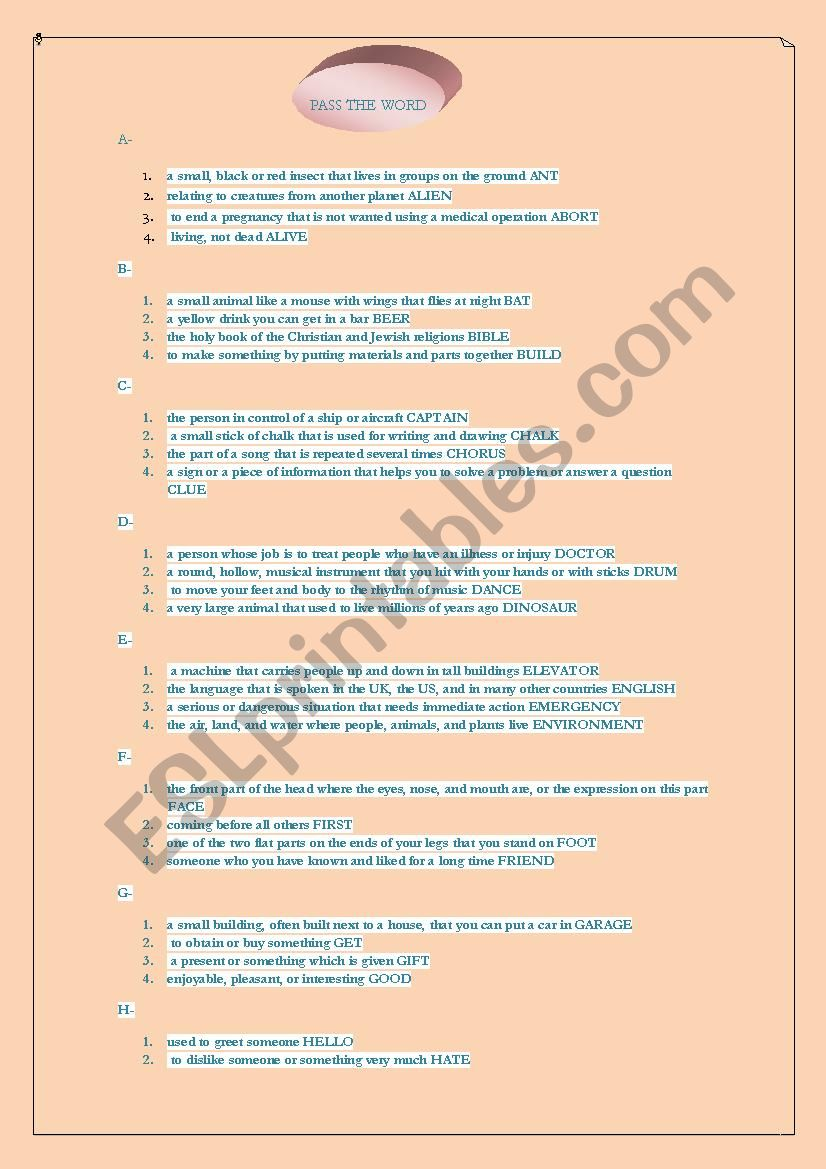 1f951e7d3 PASS THE WORD - ESL worksheet by ssoonniia