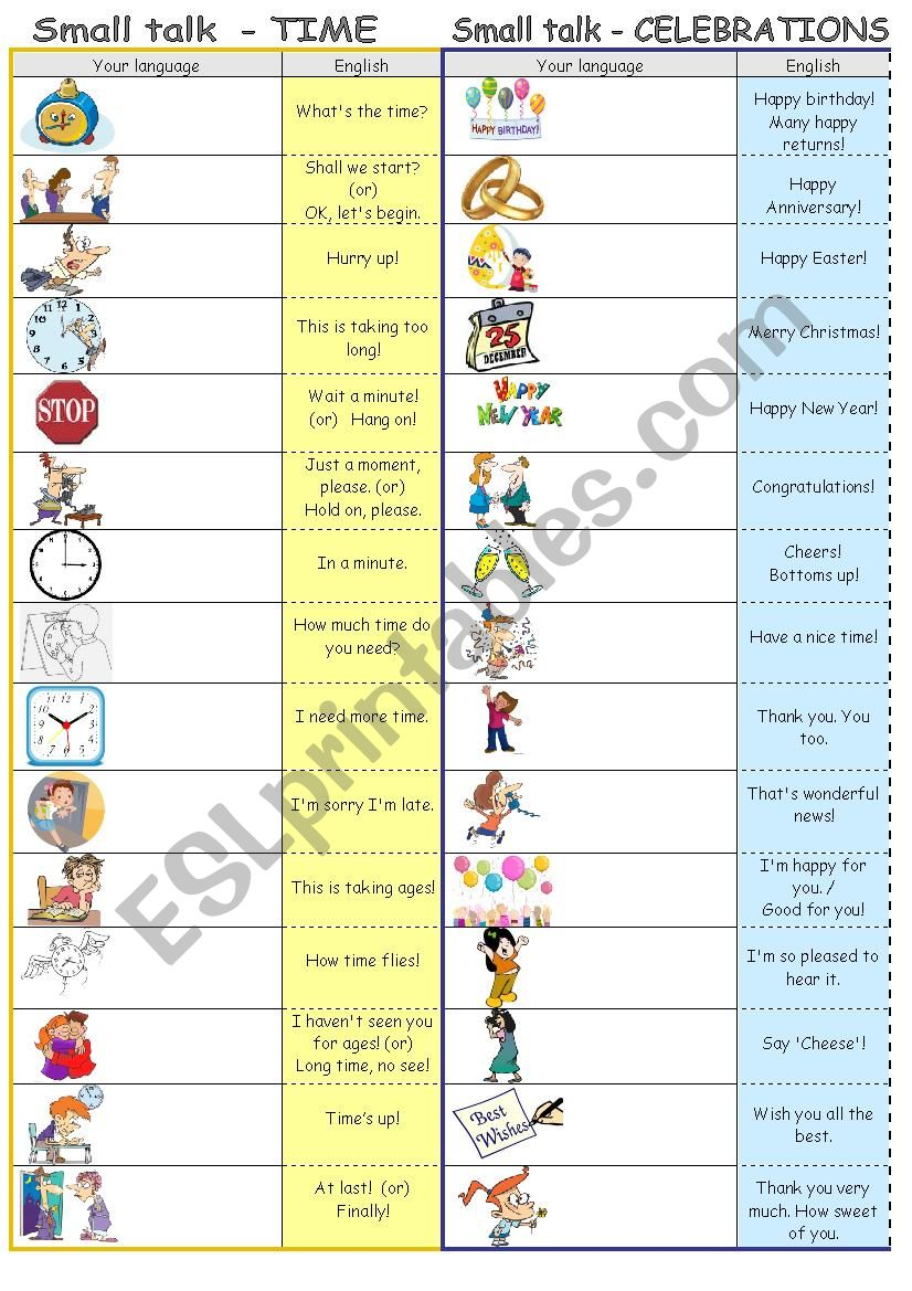 Small talk by topics - TIME & CELEBRATIONS (editable)