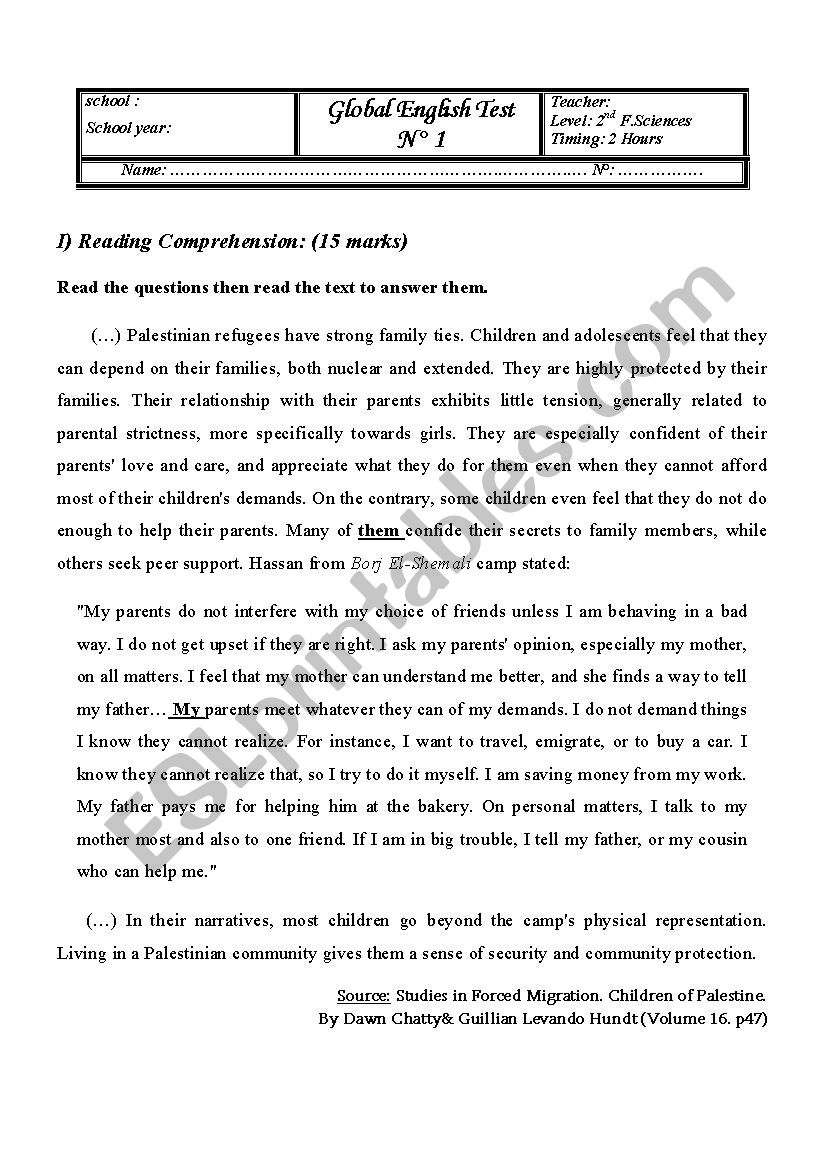 Global English Test N° 1 2nd Form (Reading comprehension, language