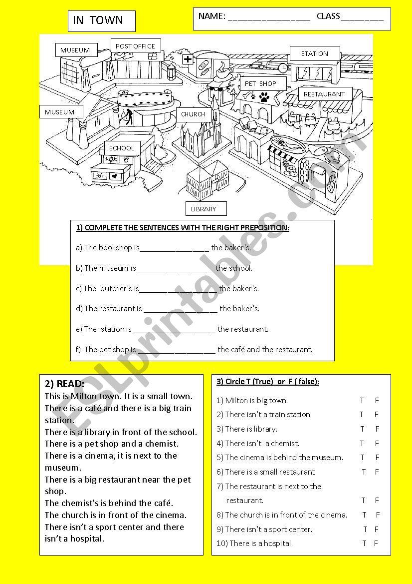 in town 3 exercises worksheet