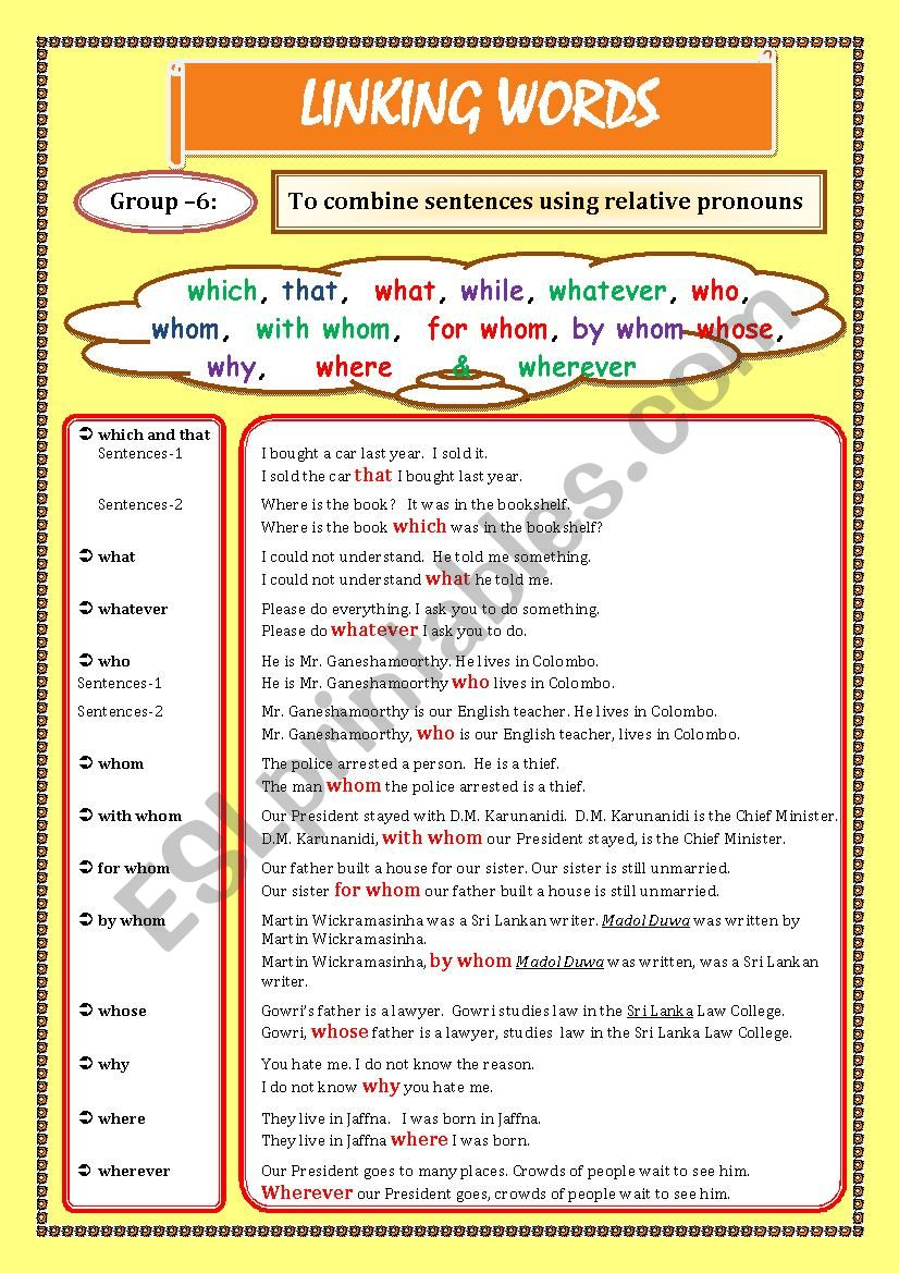 LINKING WORDS (Conjunctions + Adverbs) Page - 07