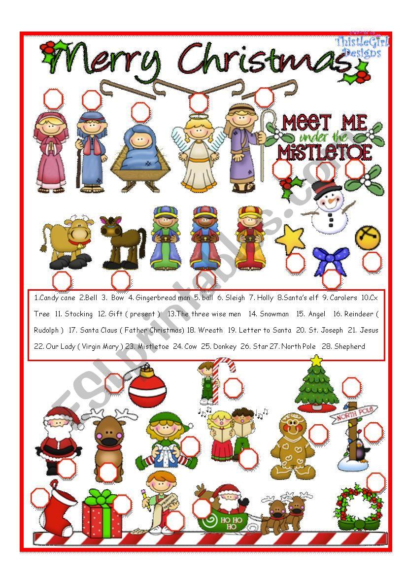 Christmas Pictionary worksheet