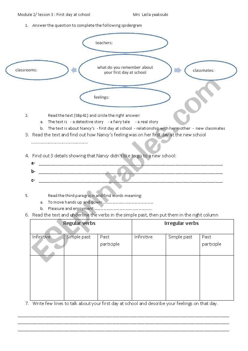 first day at school - ESL worksheet by layla yaakoubi