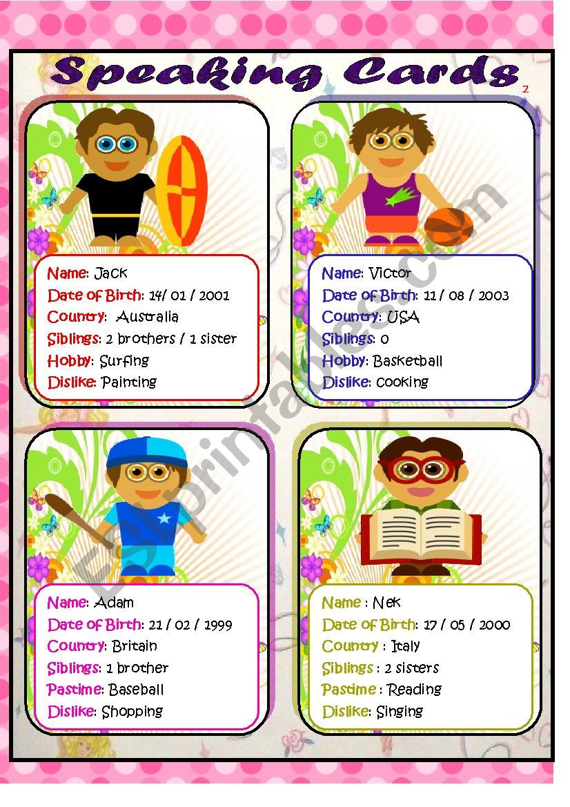 speaking cards  2     personal information about some boys