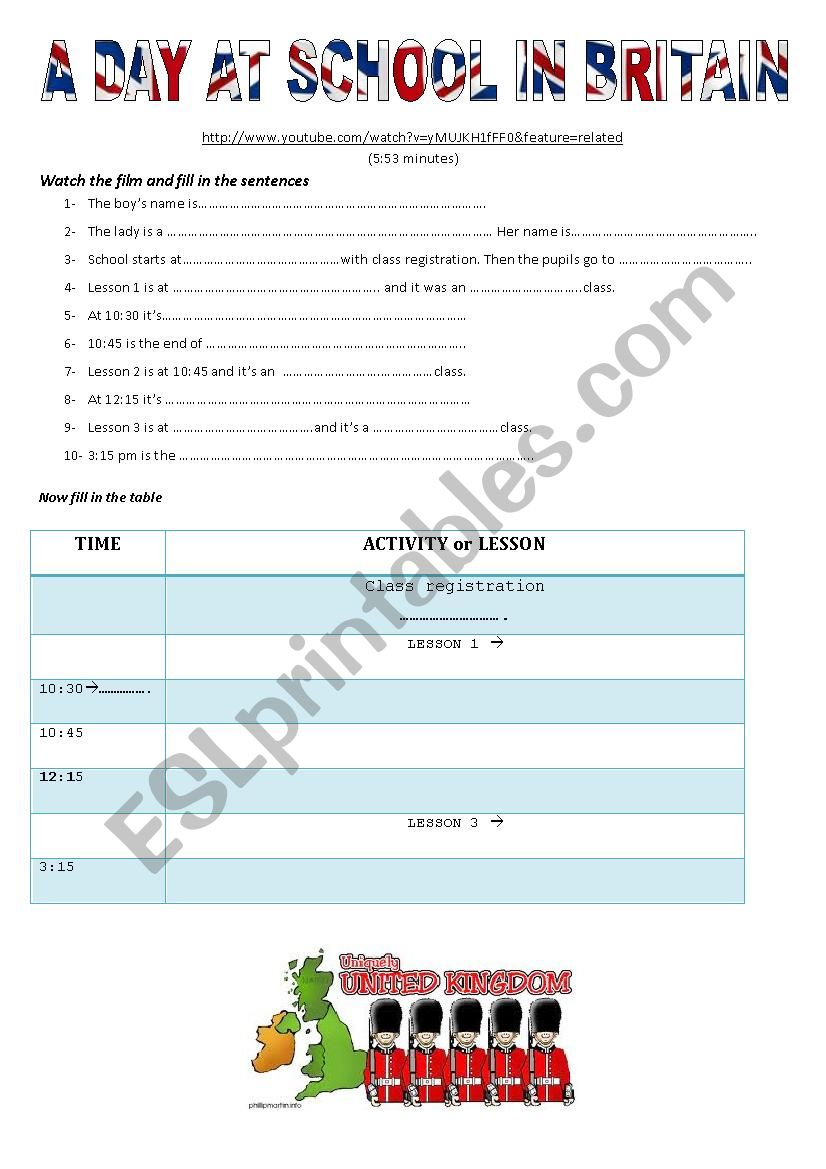 A Day at School in Britain worksheet