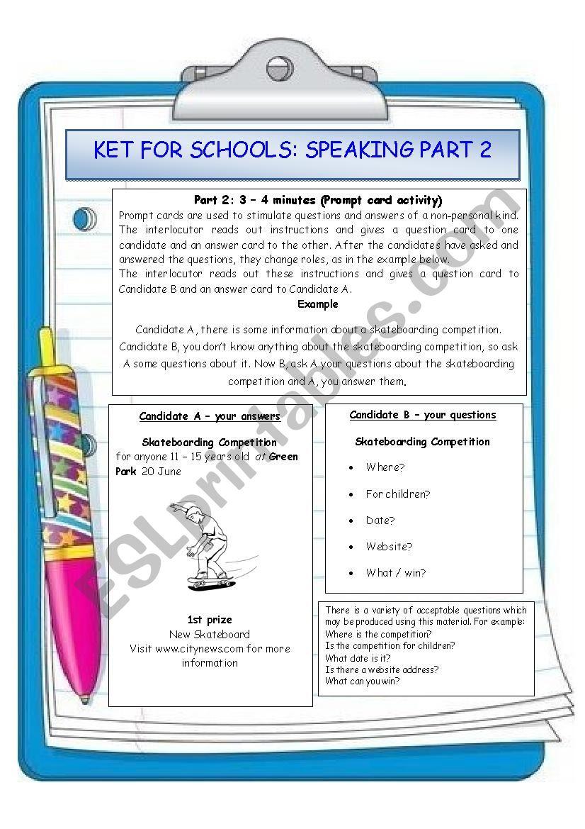 Speaking part2 KET for school exam