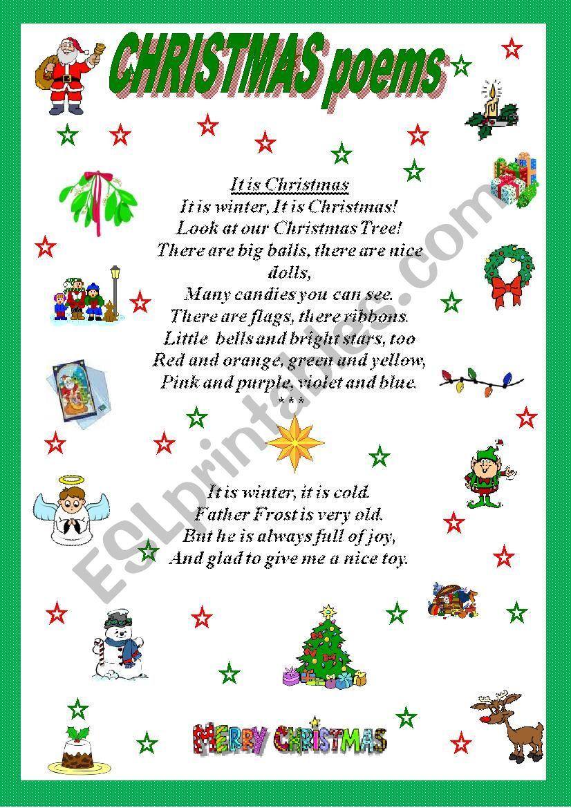 Christmas poems - ESL worksheet by