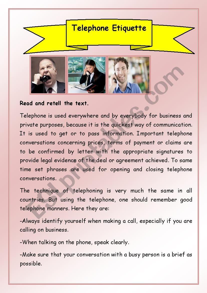 Telephone Etiquette   ESL worksheet by Tsarapka82