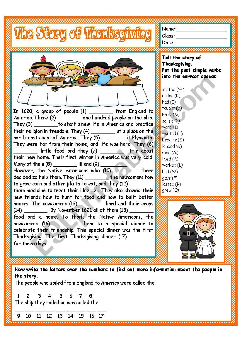The Story of Thanksgiving worksheet