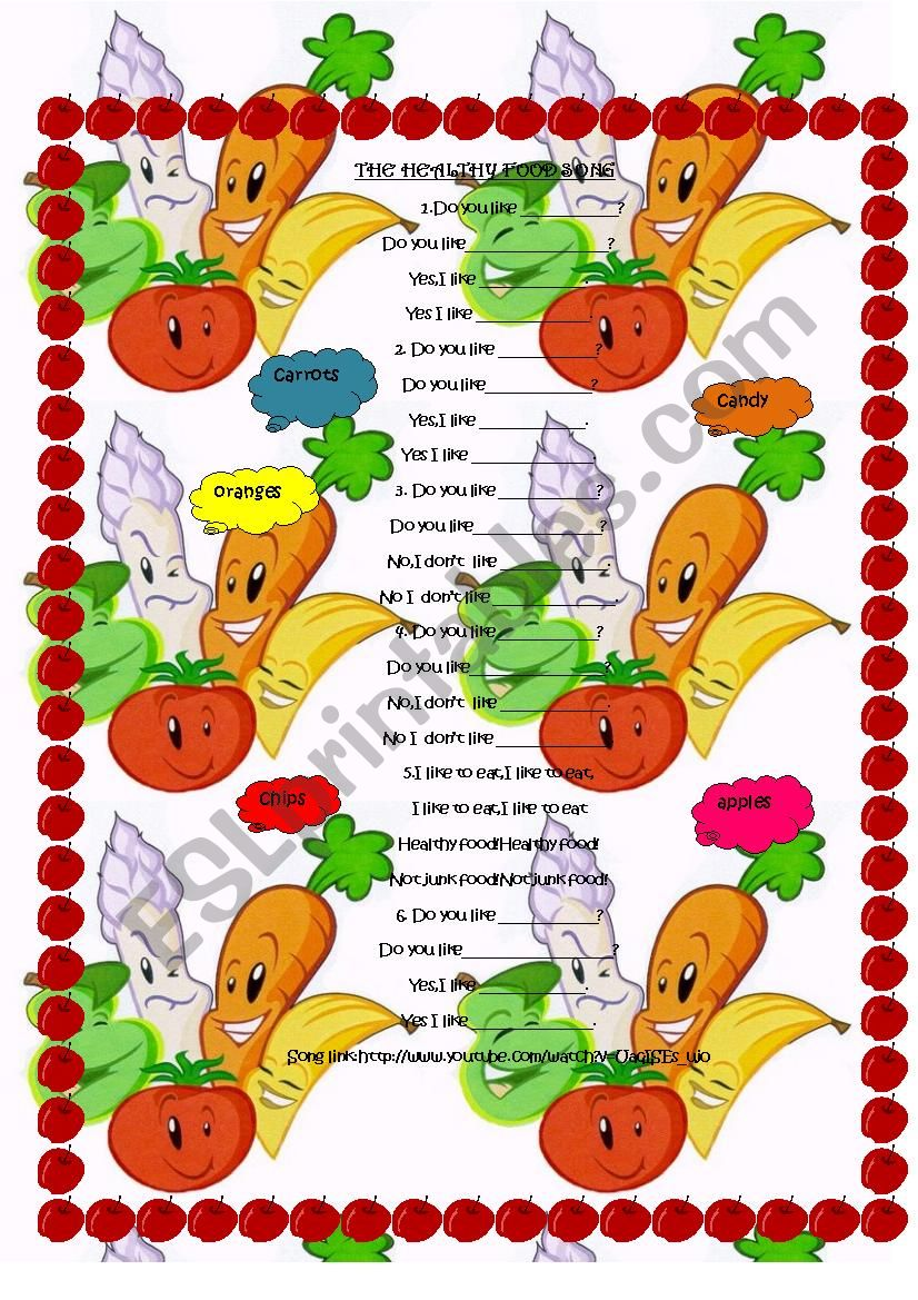 Healthy food song worksheet