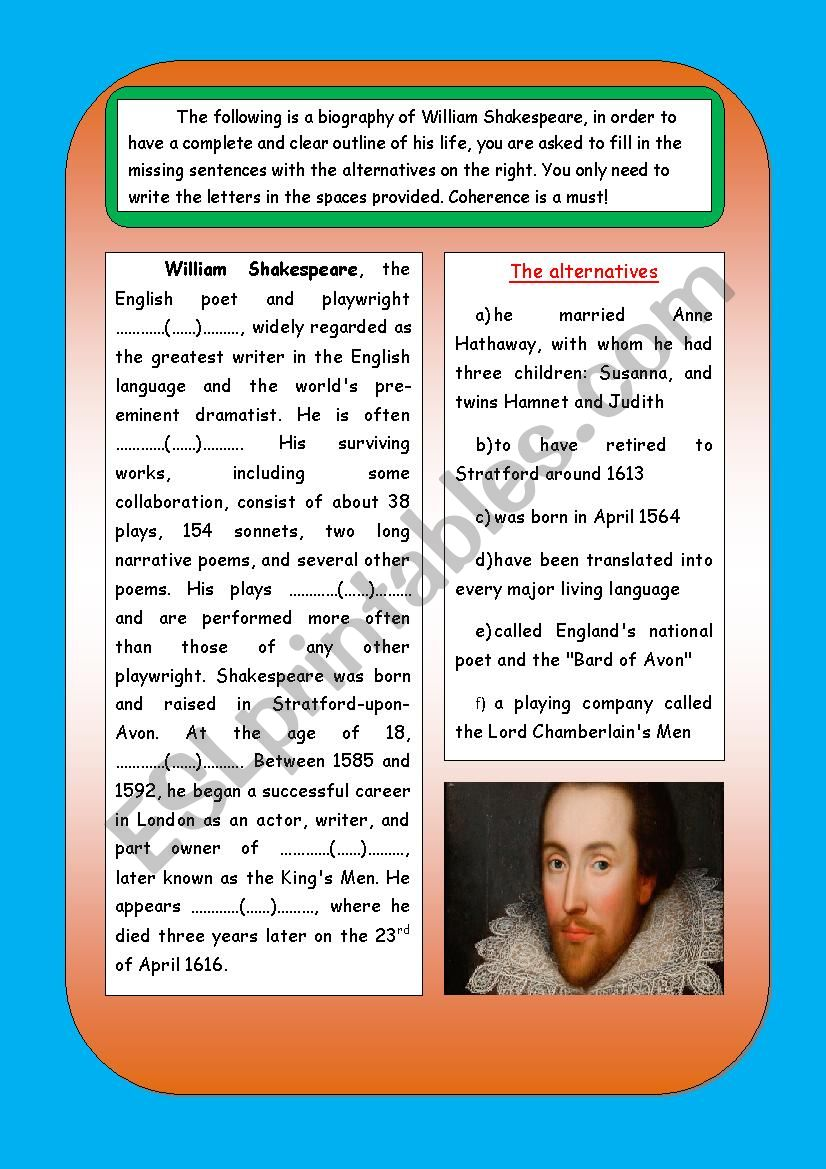 shakespeare´s biography worksheet
