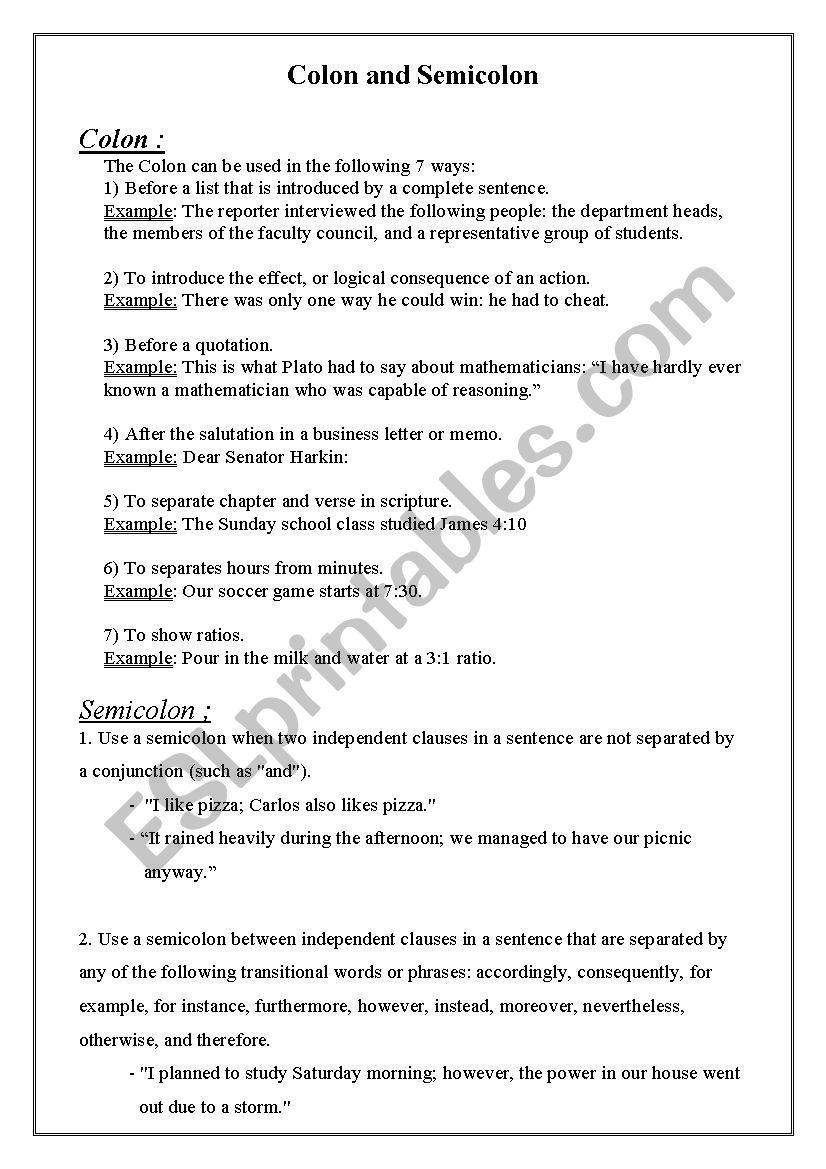 colon and semicolon worksheet