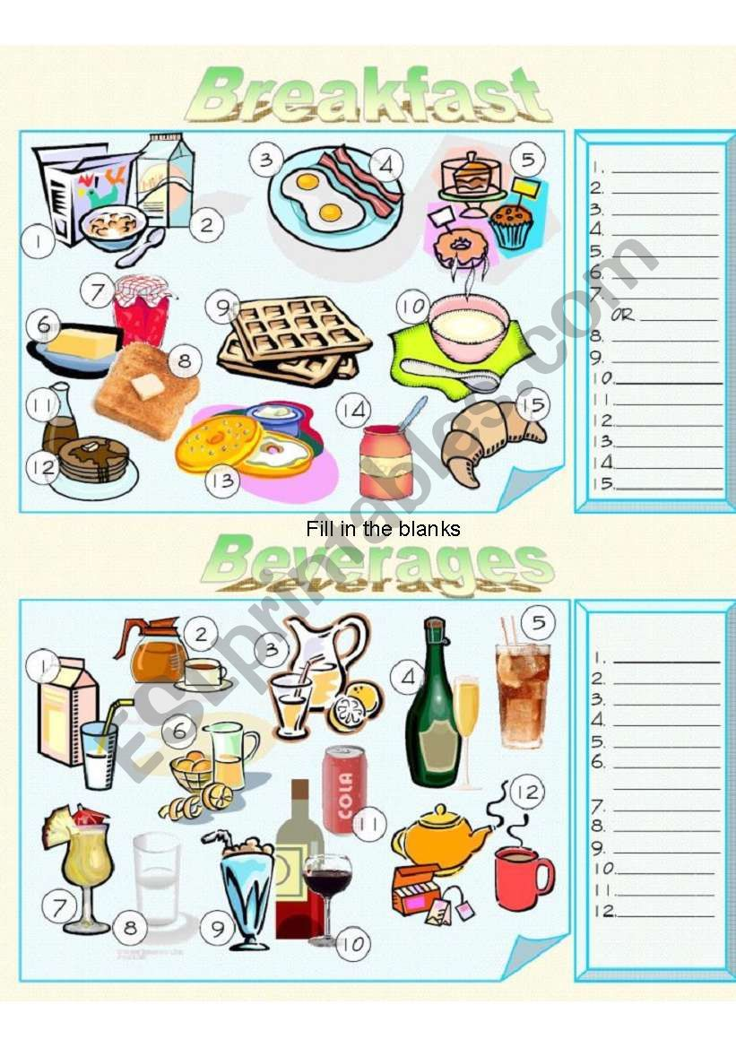 Food - Breakfast and Beverages Fill in the Blanks