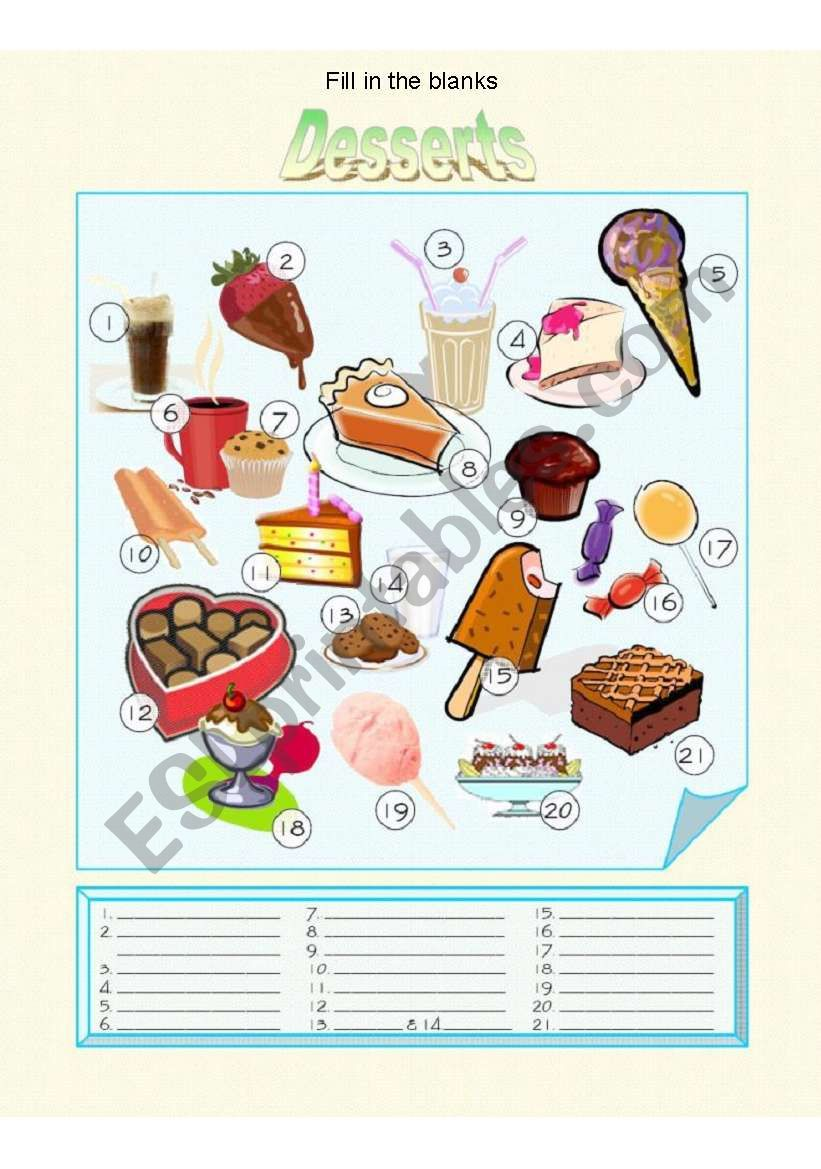 Food - Desserts Fill in the Blanks