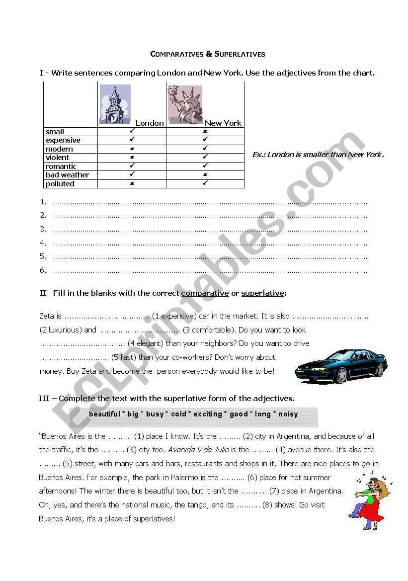 Comparatives & Superlatives worksheet