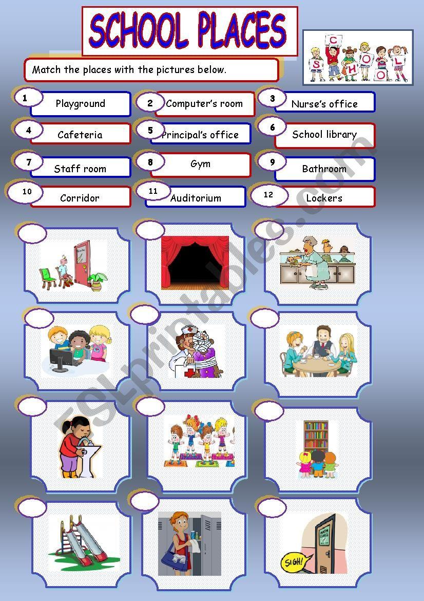 school places esl worksheet by chipougne2008. Black Bedroom Furniture Sets. Home Design Ideas