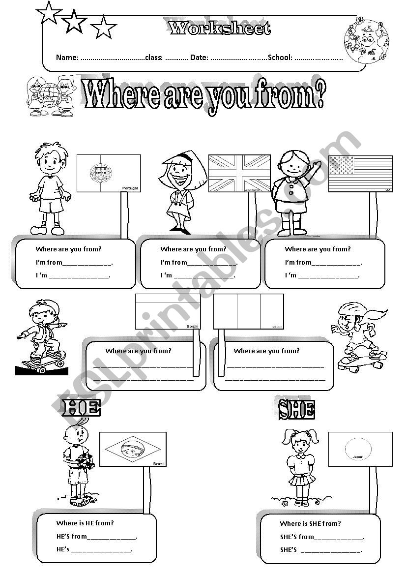 WHERE ARE YOU FROM- Countries and Nationalities+ Pronouns+ 2 PAGES
