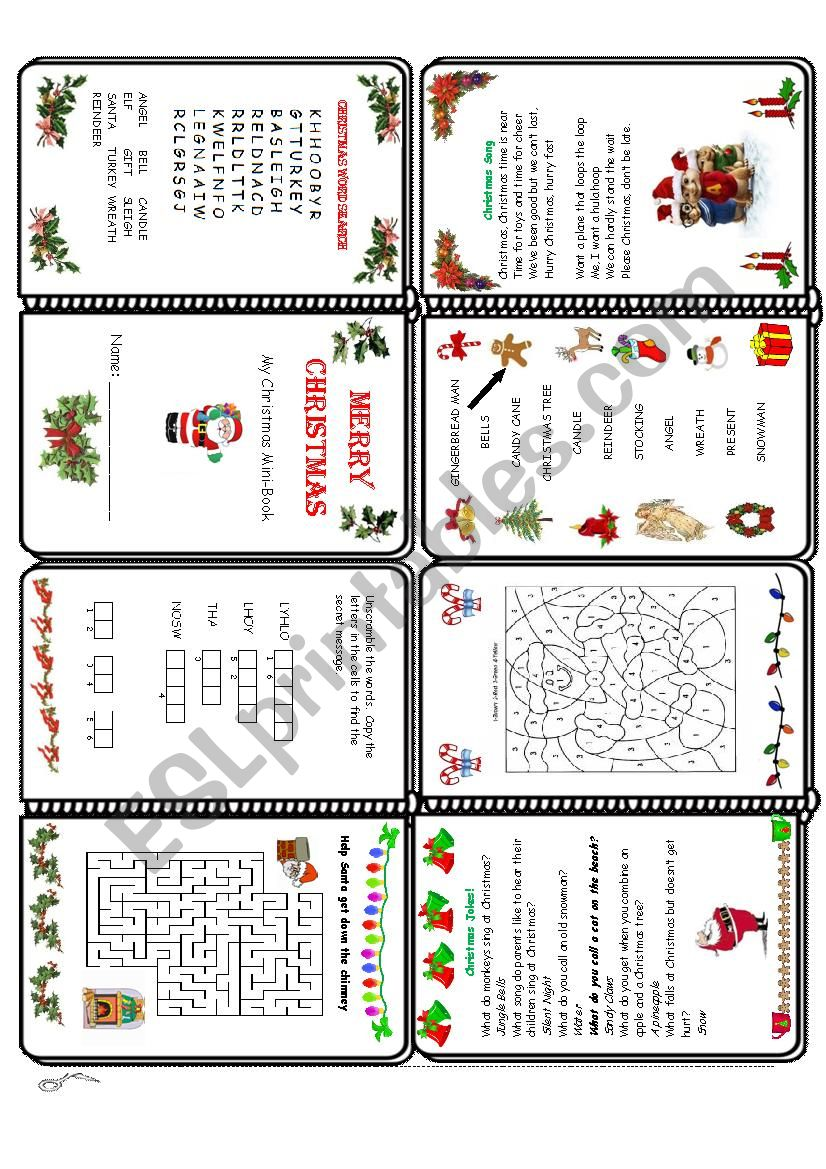 Christmas Mini Book worksheet