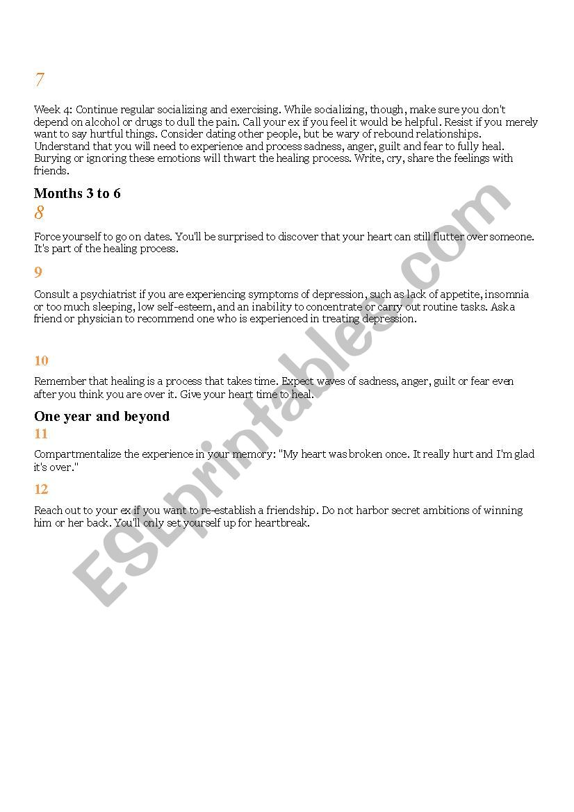 How to mend a broken heart - ESL worksheet by personalclasses