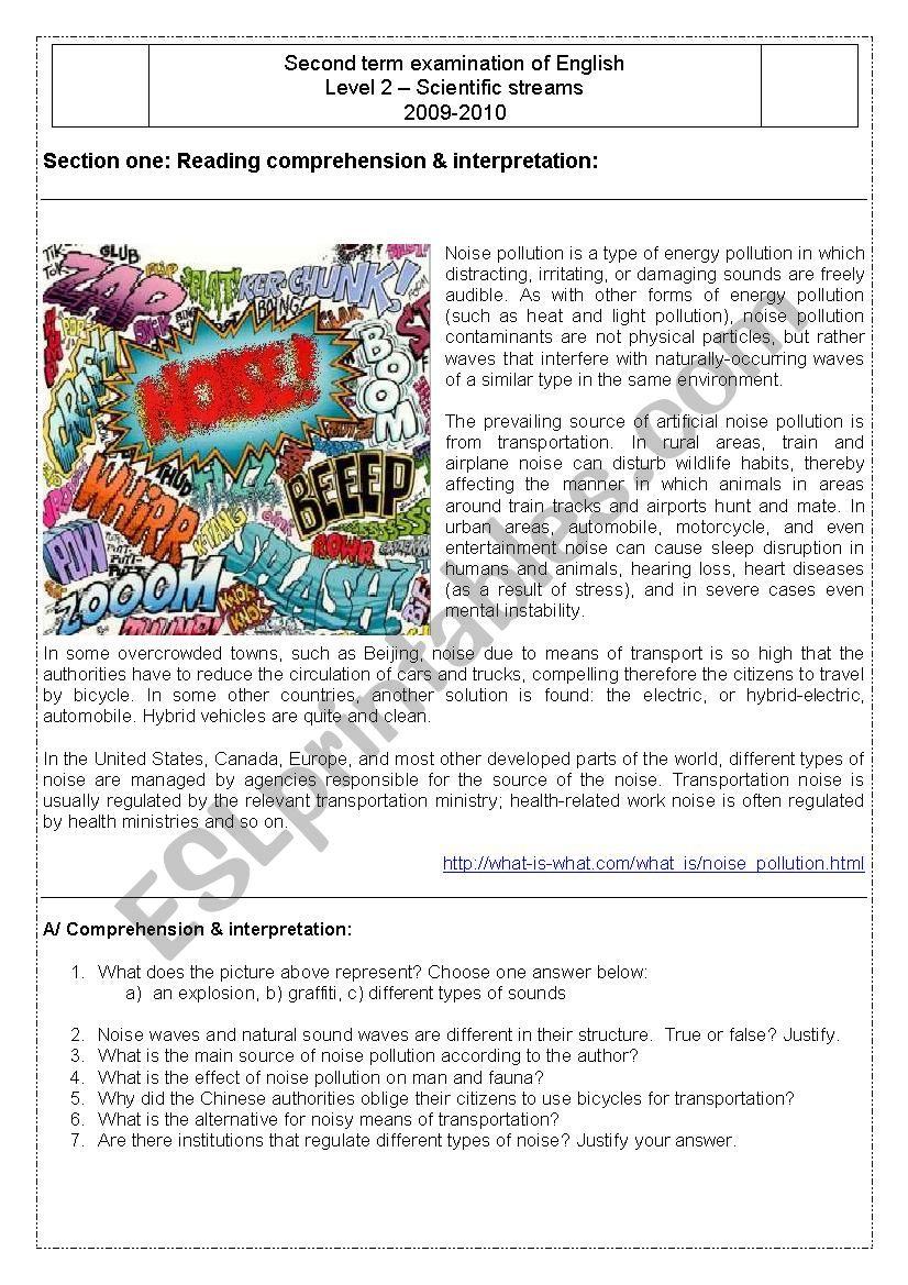 Second Term Exam of English - Level 2 - ESL worksheet by Messdjef