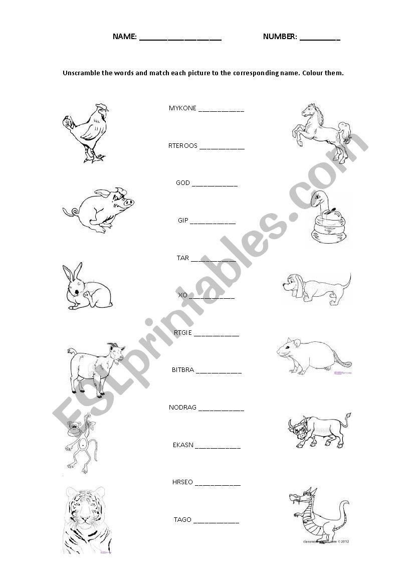 chinese zodiac esl worksheet by. Black Bedroom Furniture Sets. Home Design Ideas