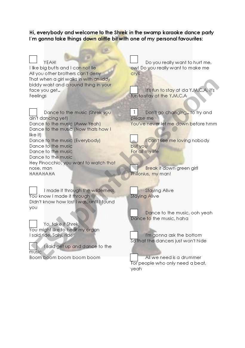 Shrek Karaoke Dance Party worksheet