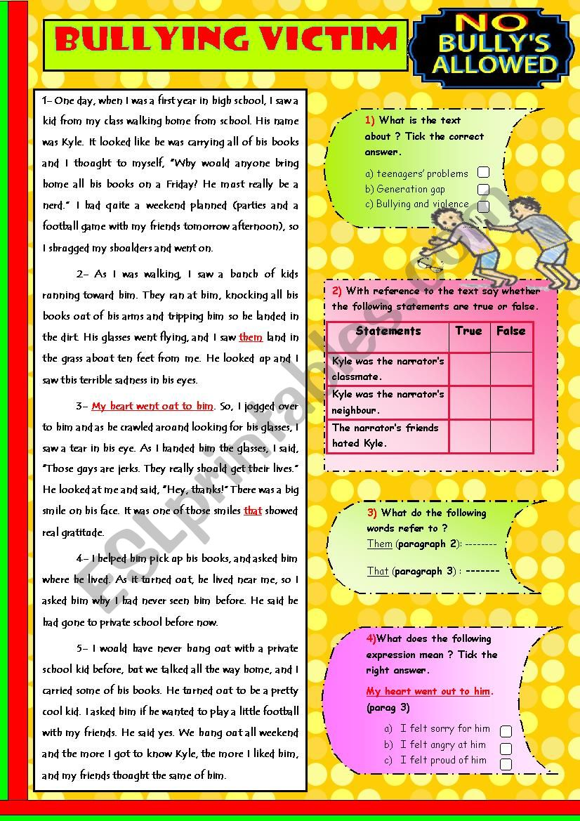 A Bullying Victim worksheet