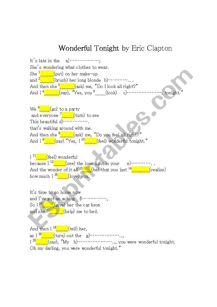 WONDERFUL TONIGHT by Eric Clapton