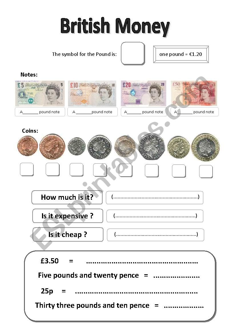 British Currency worksheet