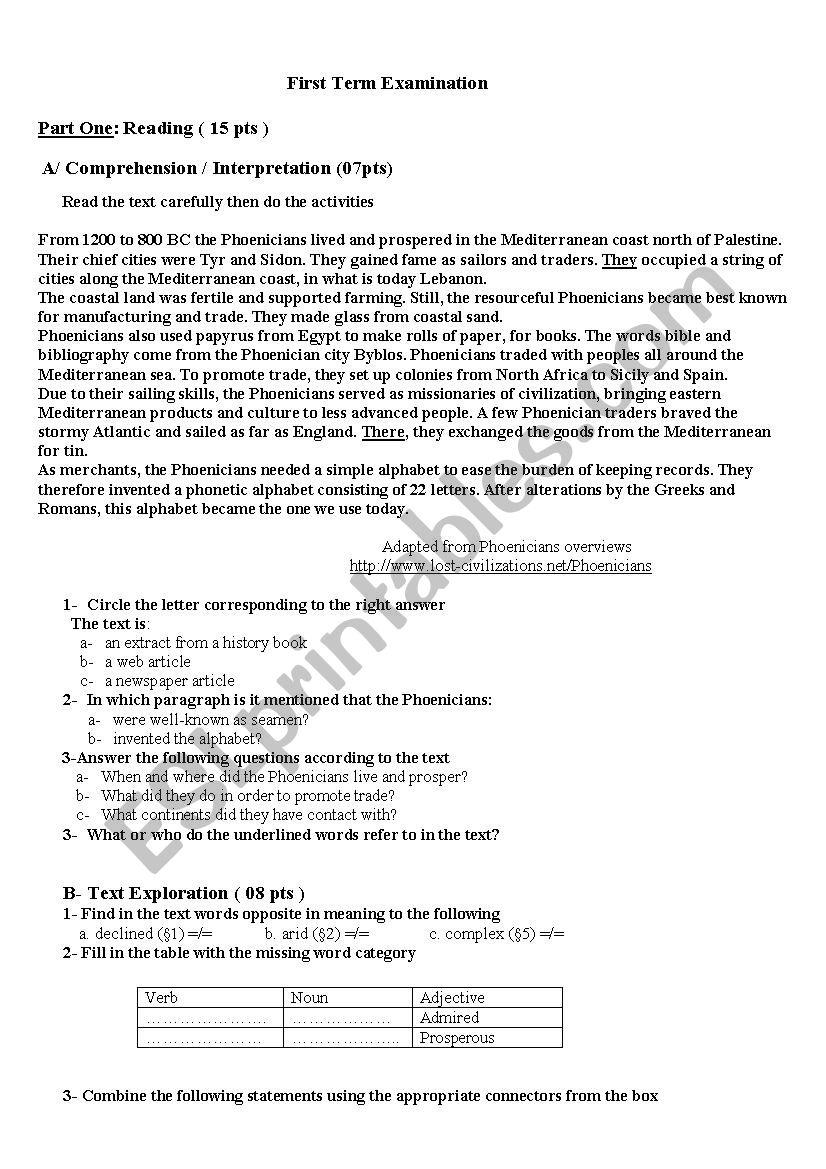 first term exam  worksheet