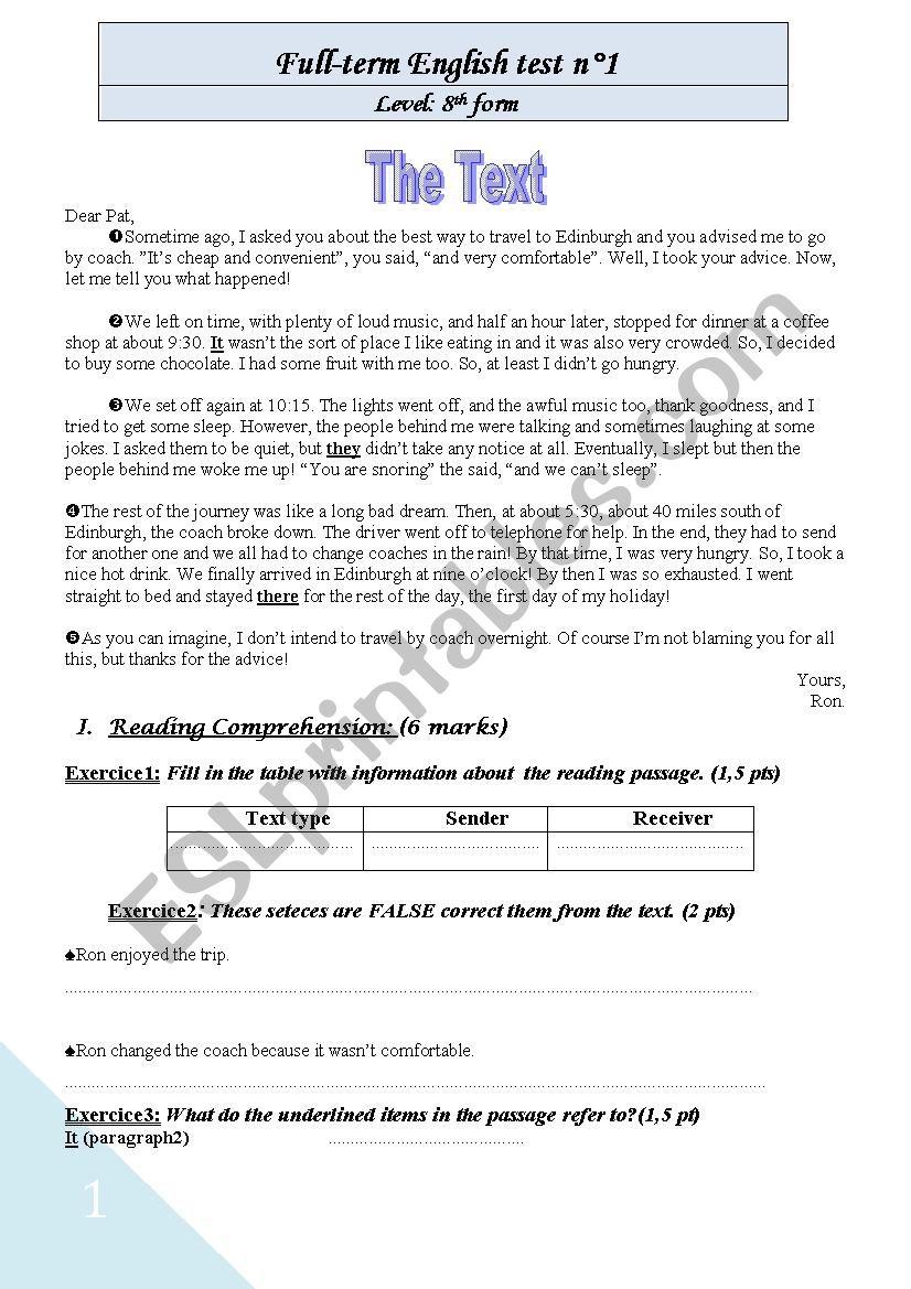 Full Term Eglish Test N°1 for 8th form