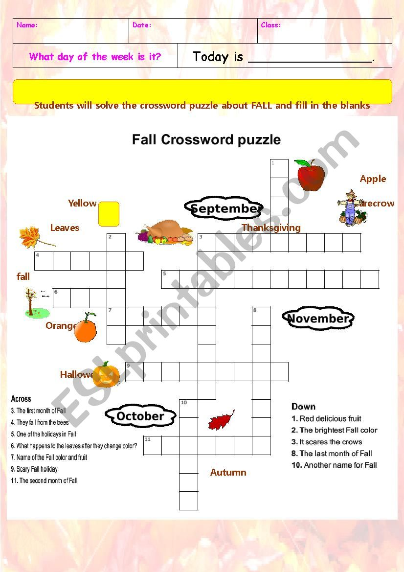 It's just an image of Fall Crossword Puzzle Printable throughout template