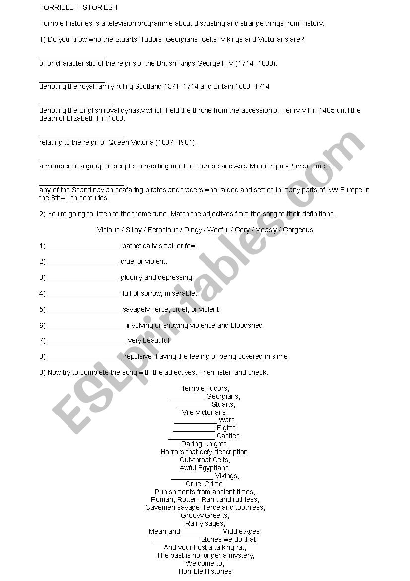 Horrible Histories Series 1 Episode 1 - ESL worksheet by gblack