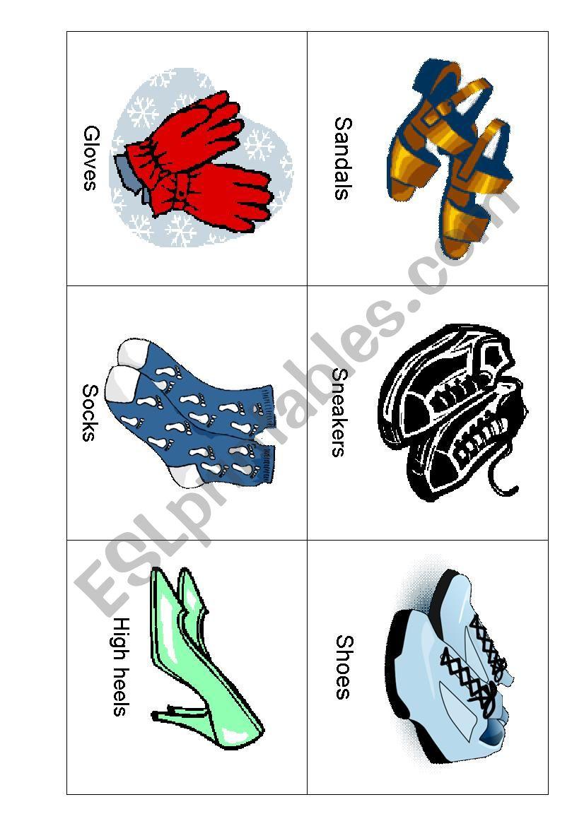 Clothing Flashcards worksheet