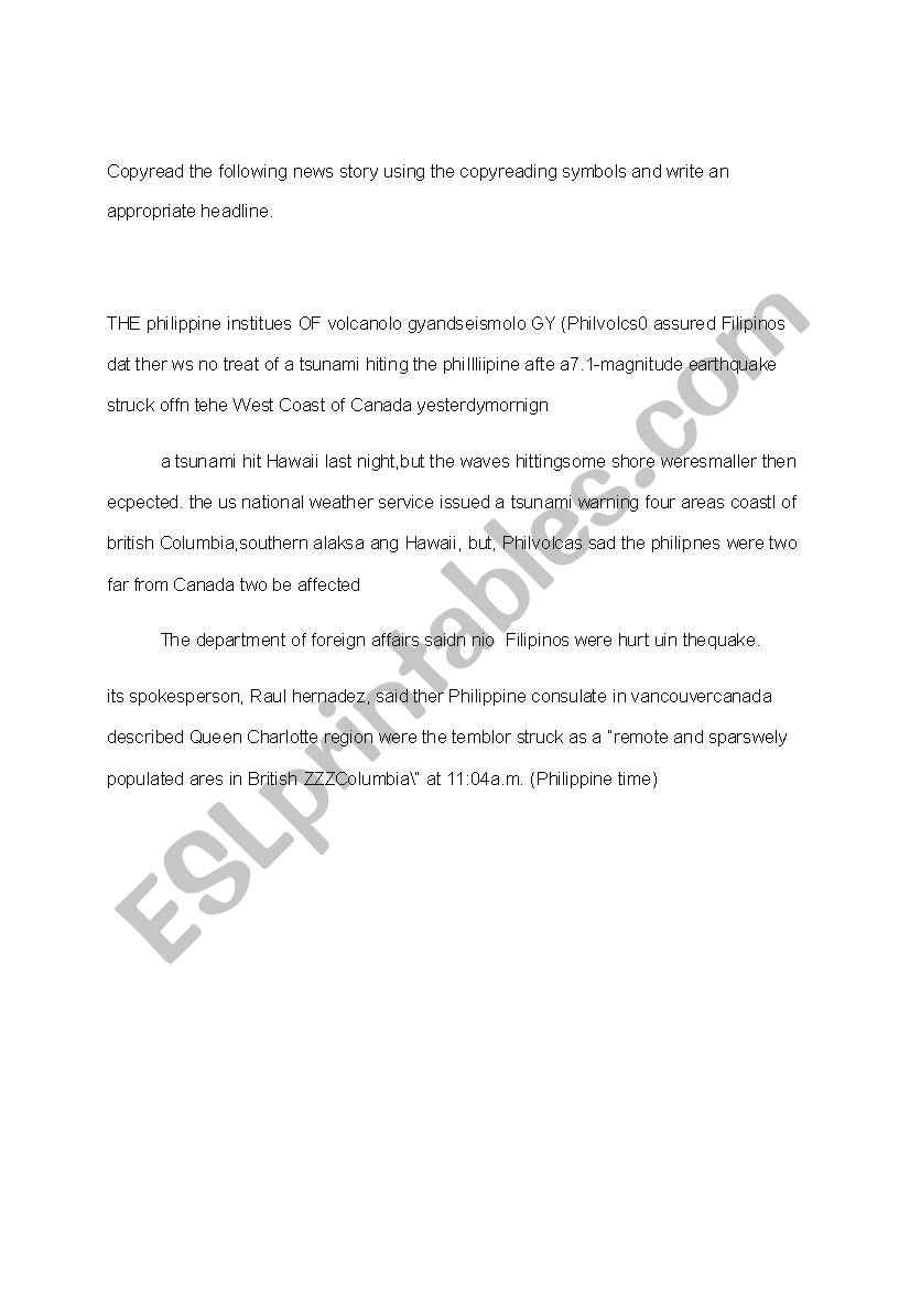 - Copyreading And Headline Writing Exercise - ESL Worksheet By Cbestanol