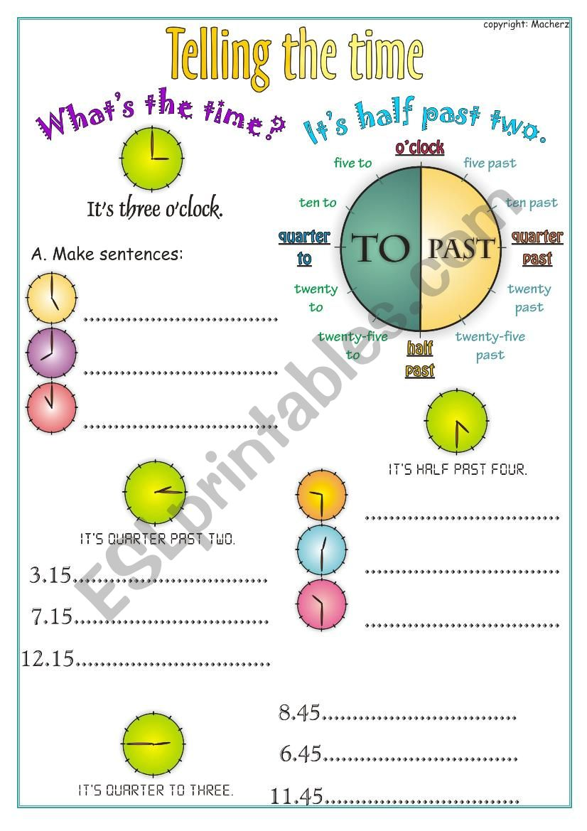 Telling the time worksheet worksheet