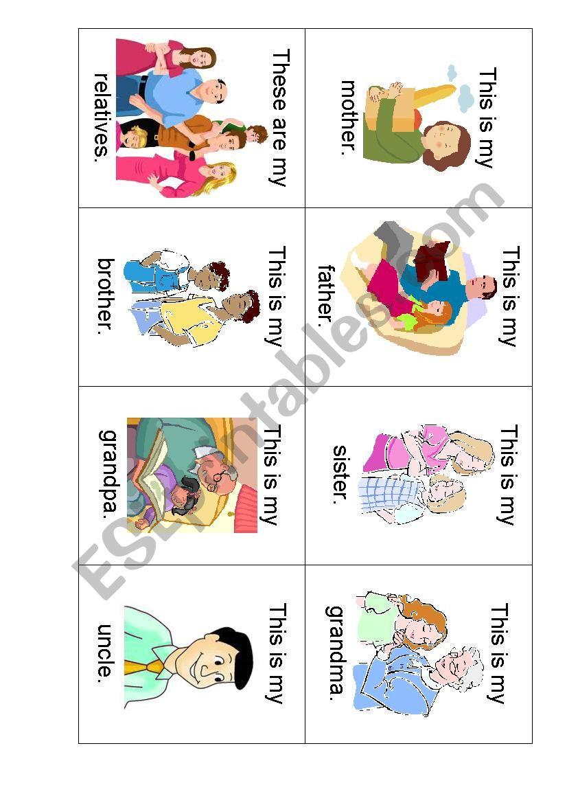 Family Relatives Flashcards worksheet