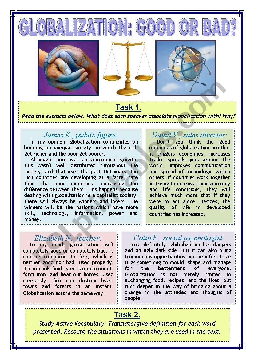 Globalization: Good or Bad worksheet