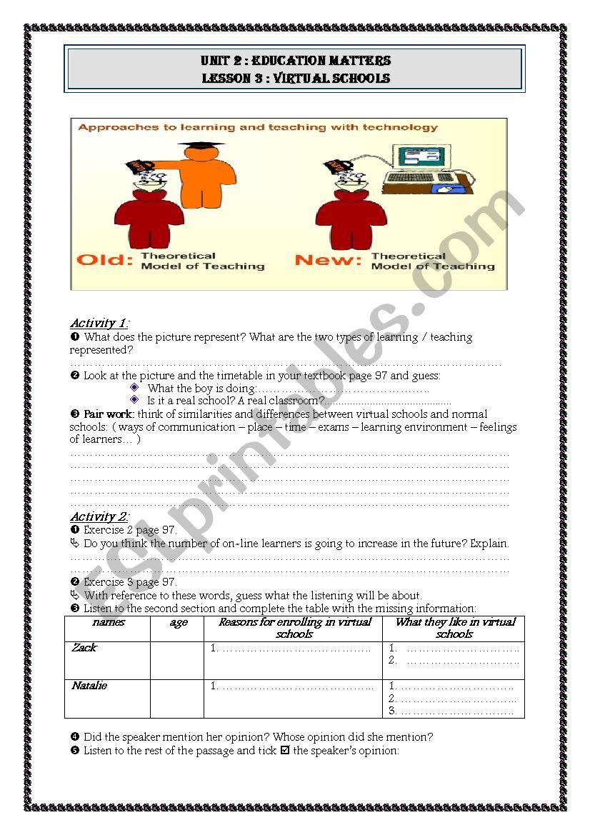virtual schools student´s worksheet