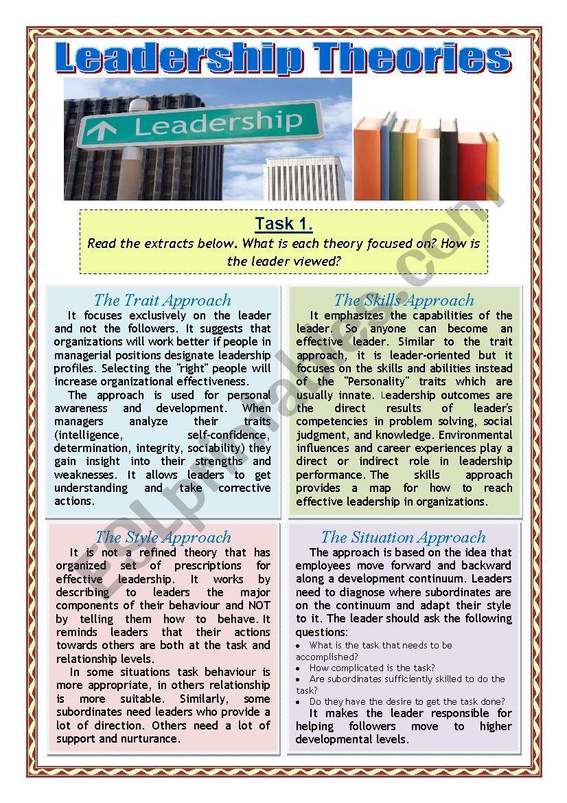 Leadership Theories - ESL worksheet by Natashenka