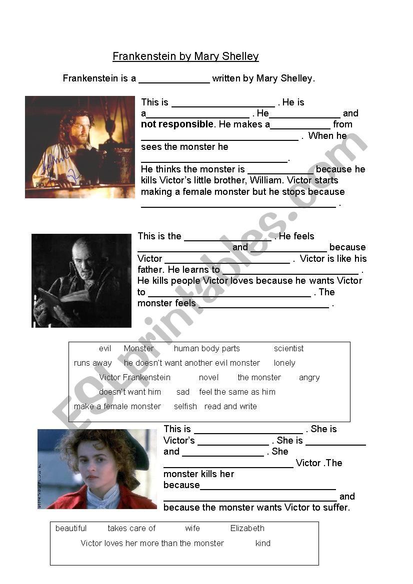 Frankenstein Worksheet - Kidz Activities