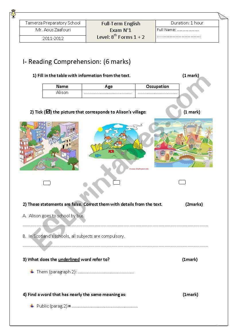 8th Grade Exam (1st term) worksheet